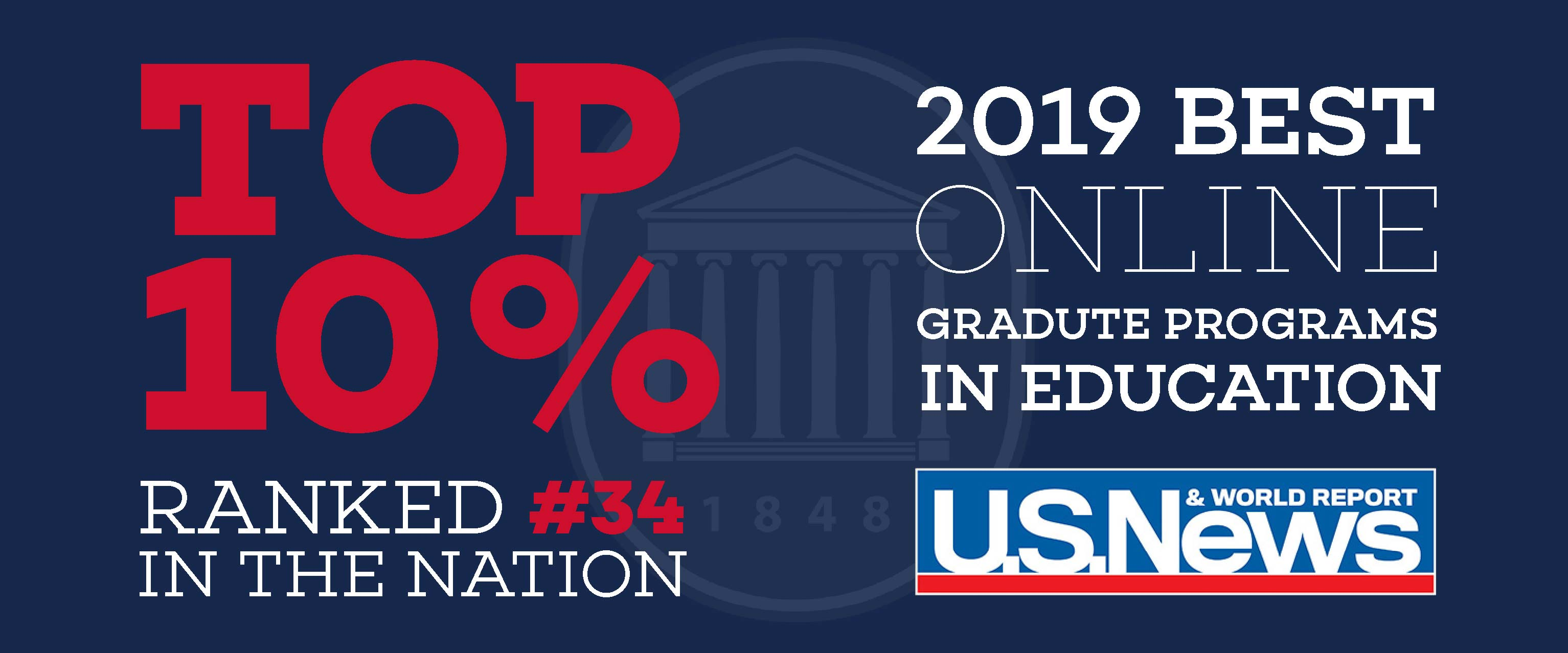 U.S. News & World Reports ranked us in the top 10% of graduate education programs!
